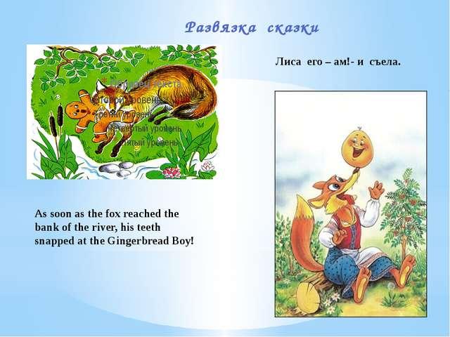 Развязка сказки Лиса его – ам!- и съела. As soon as the fox reached the bank...