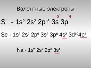 Валентные электроны S - 1s2 2s2 2p 6 3s 3p 2 4 Se - 1s2 2s2 2p6 3s2 3p6 4s2 3