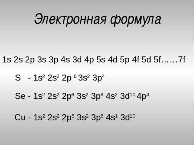 Электронная формула 1s 2s 2p 3s 3p 4s 3d 4p 5s 4d 5p 4f 5d 5f……7f Cu - 1s2 2s...