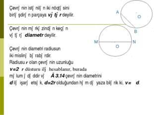 Çevrənin istənilən iki nöqtəsini birləşdirən parçaya vətər deyilir. Çevrənin