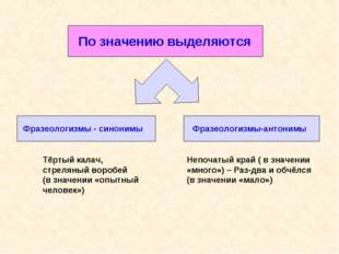 По значению выделяются Фразеологизмы - синонимы Фразеологизмы-антонимы Тёрты