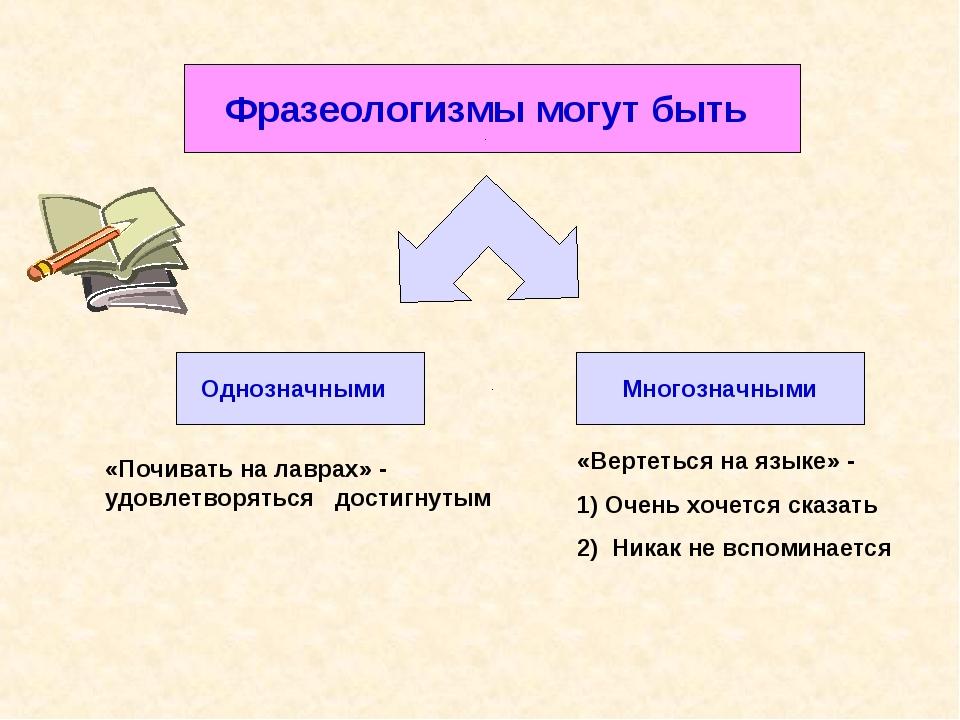 Фразеологизмы могут быть Однозначными Многозначными «Почивать на лаврах» - уд...