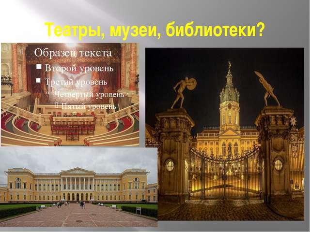 Театры, музеи, библиотеки?
