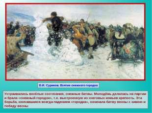 В.И. Суриков. Взятие снежного городка Устраивались весёлые состязания, снежны