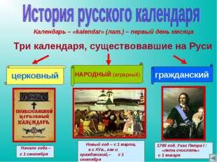 гражданский церковный Начало года – с 1 сентября Новый год – с 1 марта, а с X