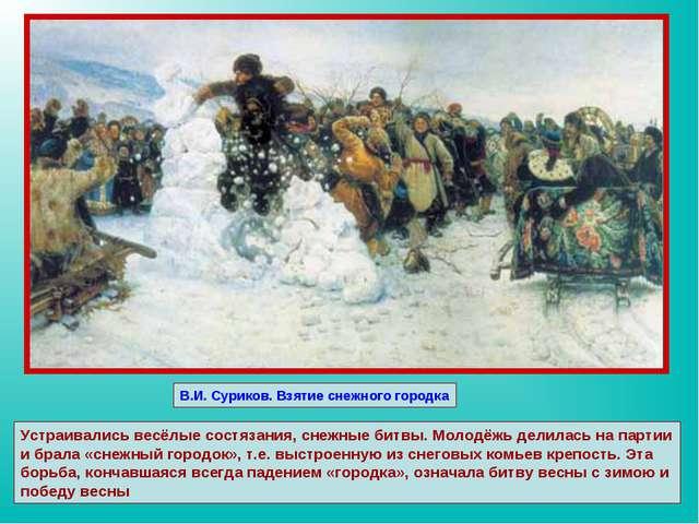 В.И. Суриков. Взятие снежного городка Устраивались весёлые состязания, снежны...