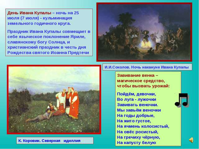 День Ивана Купалы – ночь на 25 июля (7 июля) - кульминация земельного годично...
