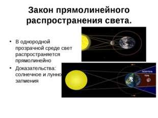 Закон прямолинейного распространения света. В однородной прозрачной среде све
