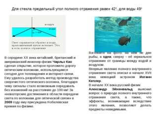 Для стекла предельный угол полного отражения равен 420, для воды 490 Взглянит