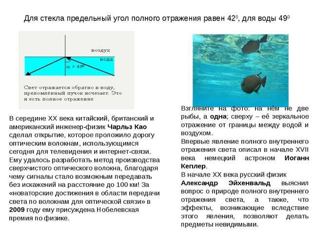 Для стекла предельный угол полного отражения равен 420, для воды 490 Взглянит...