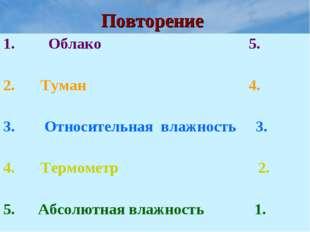 Повторение Облако 5. Туман 4. Относительная влажность 3. Термометр 2. 5. Абсо