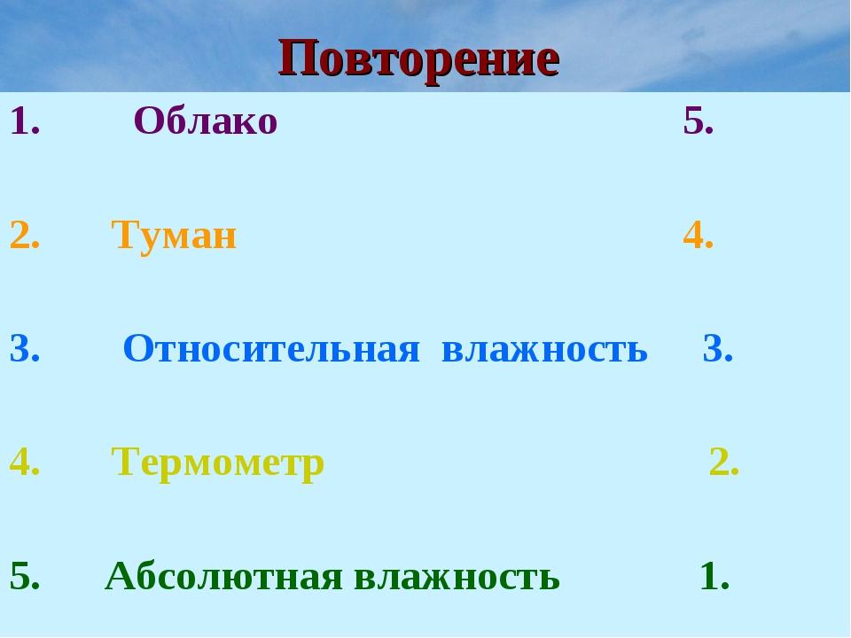 Повторение Облако 5. Туман 4. Относительная влажность 3. Термометр 2. 5. Абсо...
