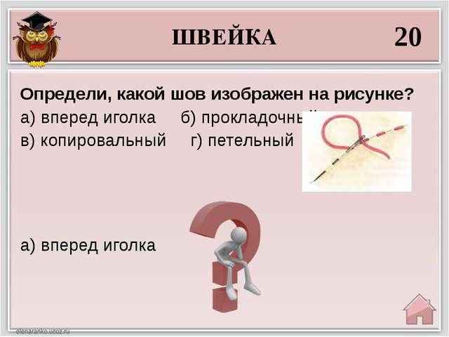 ШВЕЙКА 20 а) вперед иголка Определи, какой шов изображен на рисунке? а) впере...