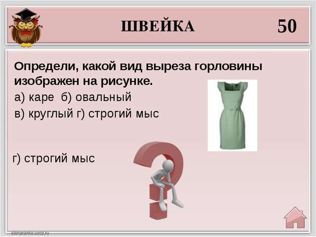 ШВЕЙКА 50 г) строгий мыс Определи, какой вид выреза горловины изображен на ри...