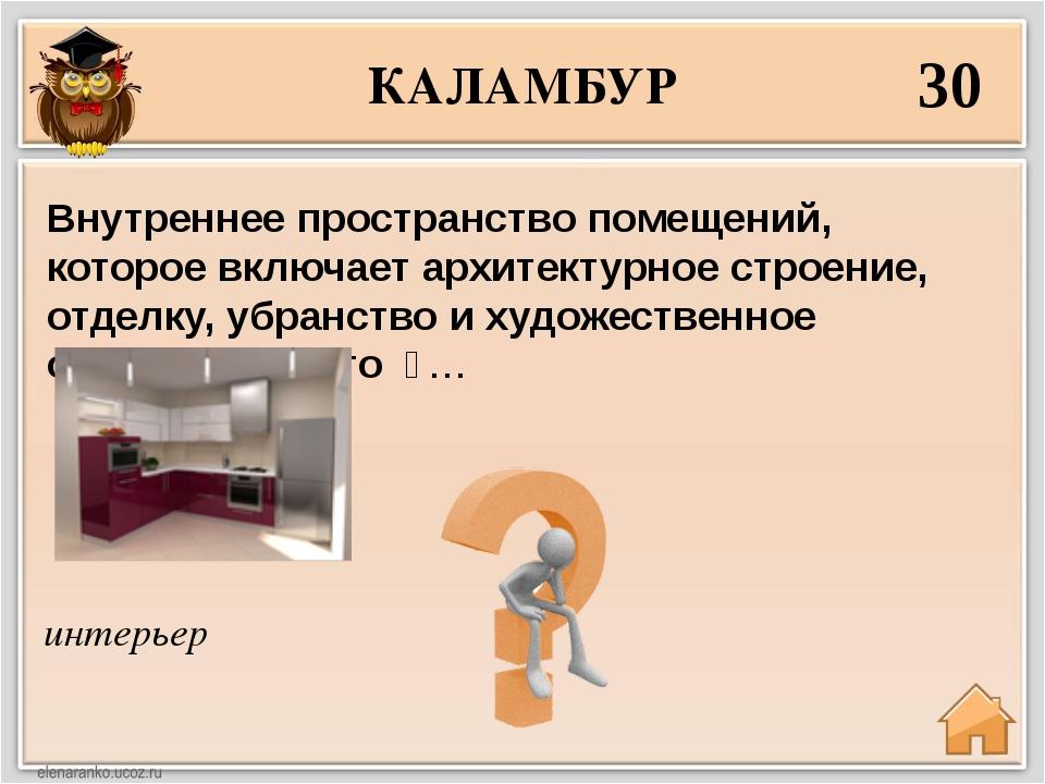 КАЛАМБУР 30 интерьер Внутреннее пространство помещений, которое включает архи...