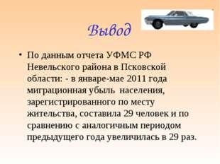 Вывод По данным отчета УФМС РФ Невельского района в Псковской области: - в ян