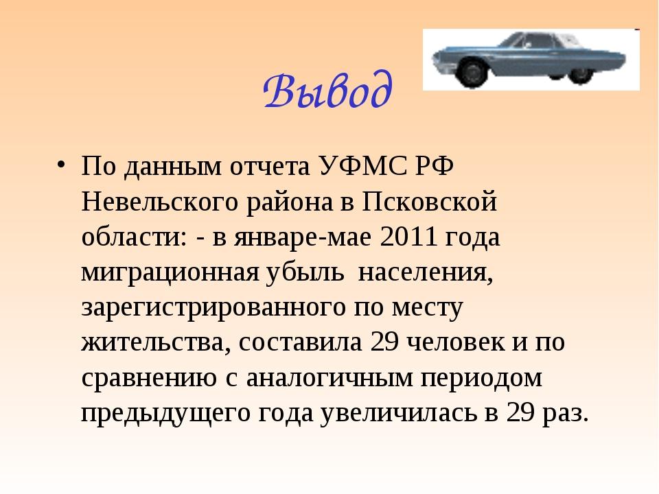 Вывод По данным отчета УФМС РФ Невельского района в Псковской области: - в ян...