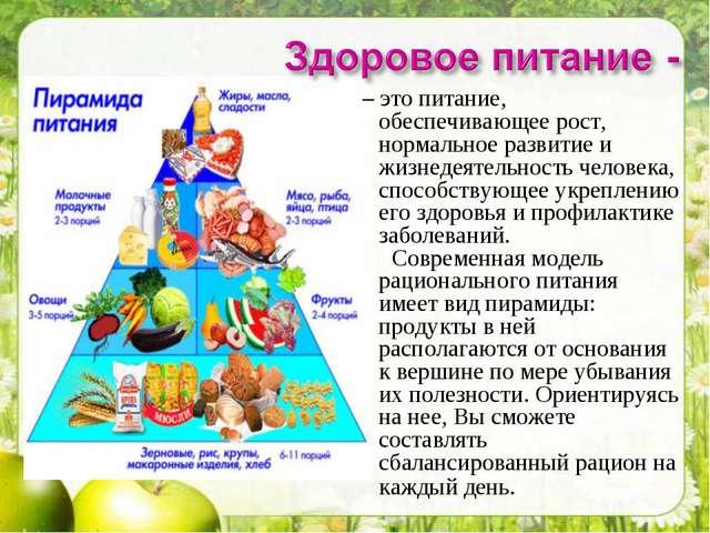 – это питание, обеспечивающее рост, нормальное развитие и жизнедеятельность...
