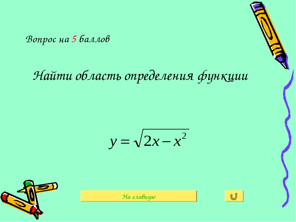 Вопрос на 5 баллов Найти область определения функции На главную