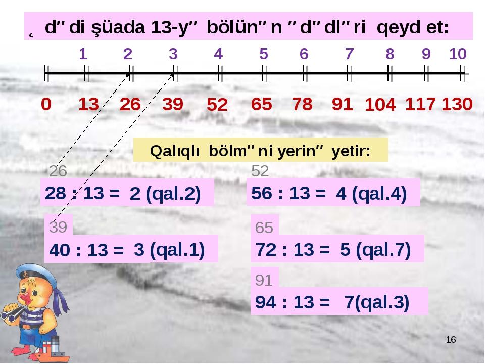 * 0 13 26 1 2 3 4 5 6 7 8 9 10 39 52 65 78 91 104 117 130 28 : 13 = 26 2 (qal...