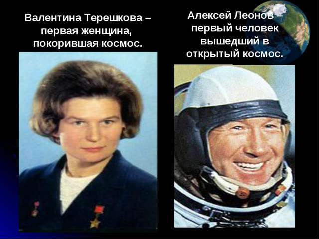 Валентина Терешкова – первая женщина, покорившая космос. Алексей Леонов – пер...