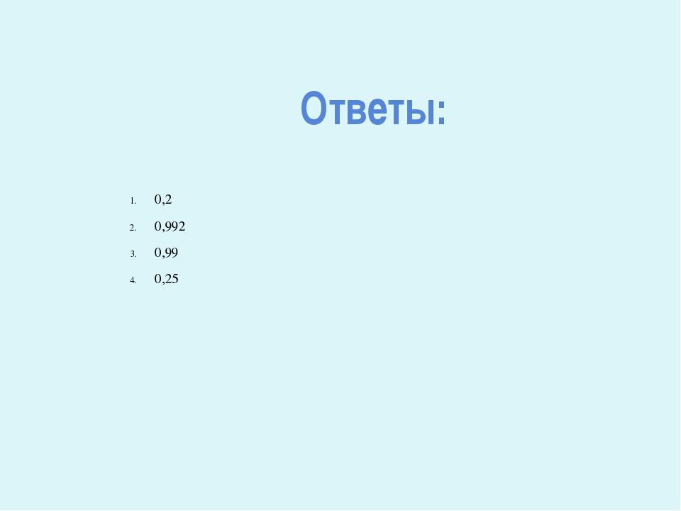 Ответы: 0,2 0,992 0,99 0,25