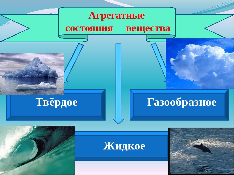 Агрегатные состояния вещества Твёрдое Газообразное Жидкое