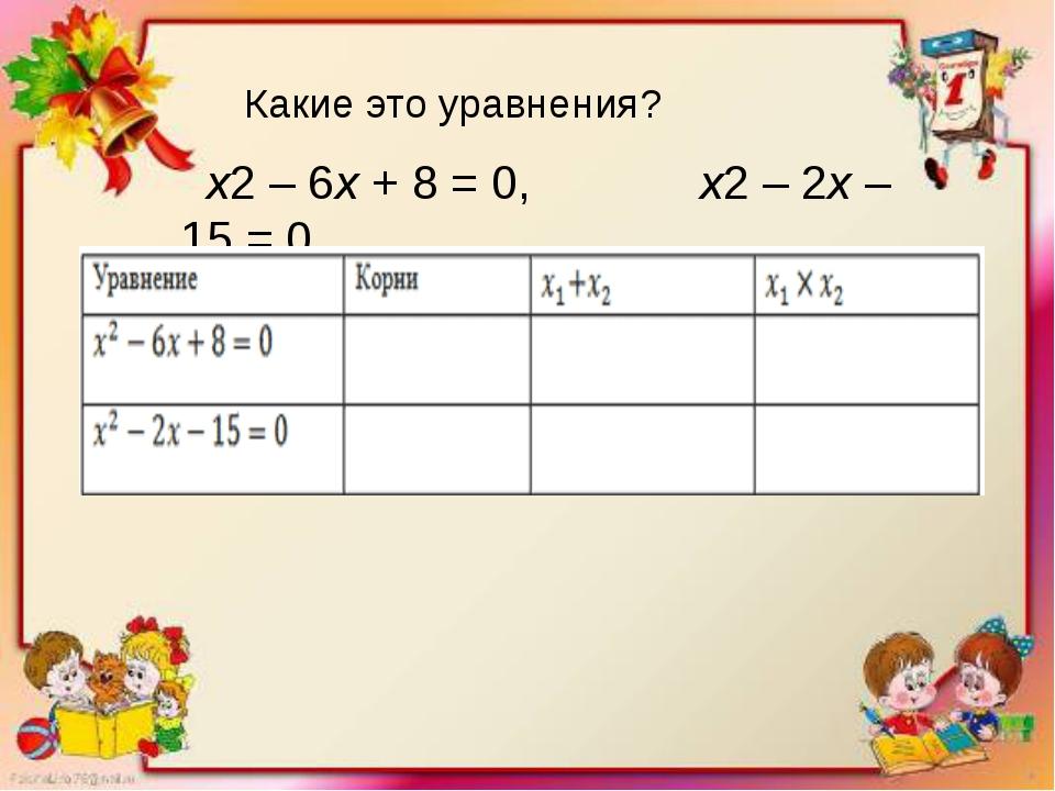 х2– 6х+ 8 = 0, х2– 2х– 15 = 0 Какие это уравнения?