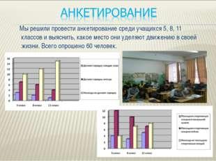 Мы решили провести анкетирование среди учащихся 5, 8, 11 классов и выяснить,