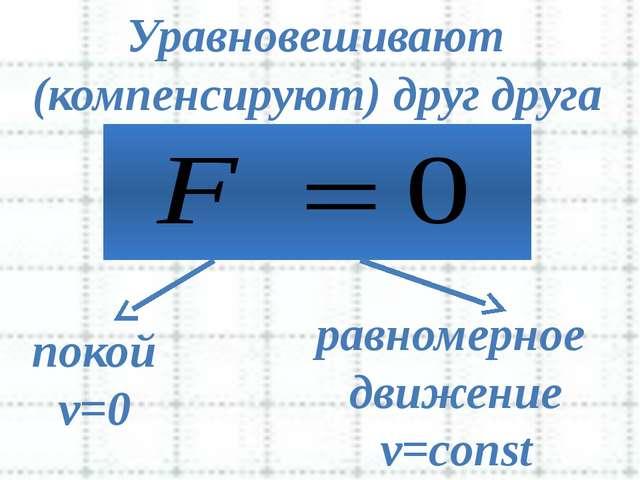 Уравновешивают покой v=0 равномерное движение v=const (компенсируют) друг др...