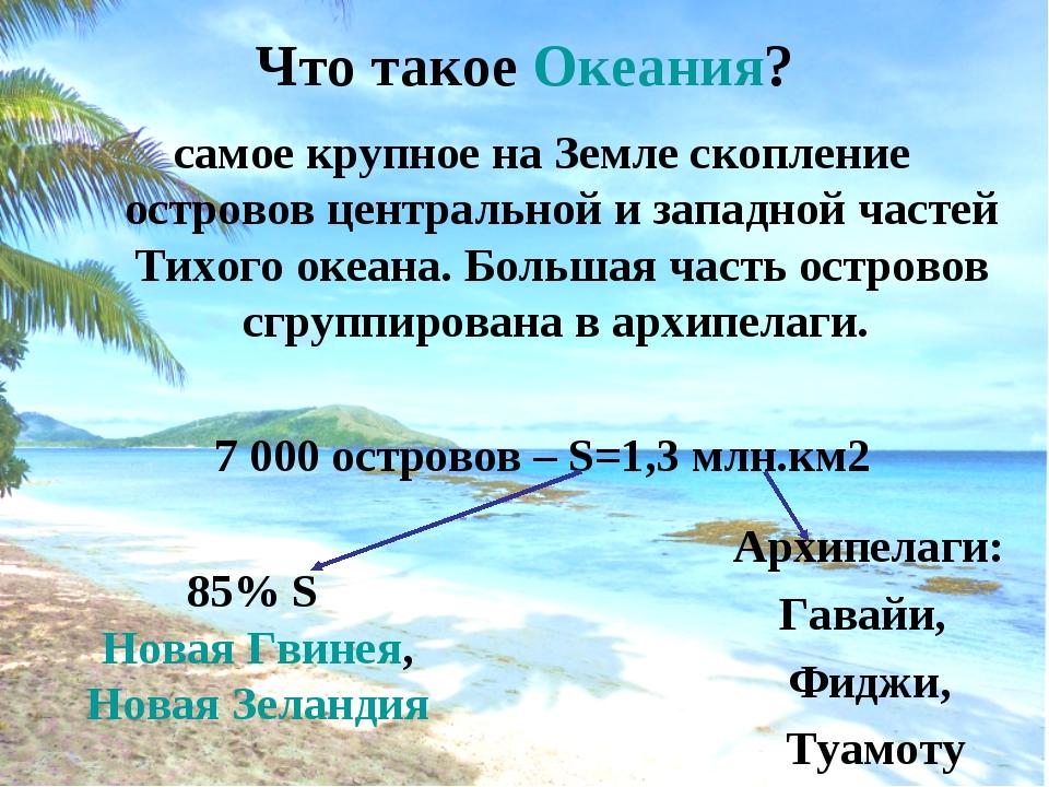 Что такое Океания? самое крупное на Земле скопление островов центральной и за...