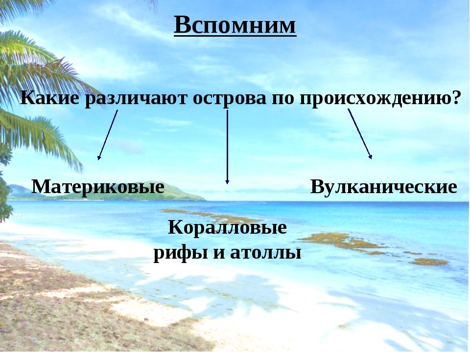 Вспомним Какие различают острова по происхождению? Материковые Коралловые риф...