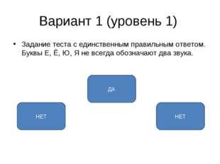 Вариант 1 (уровень 1) Задание теста с единственным правильным ответом. Буквы