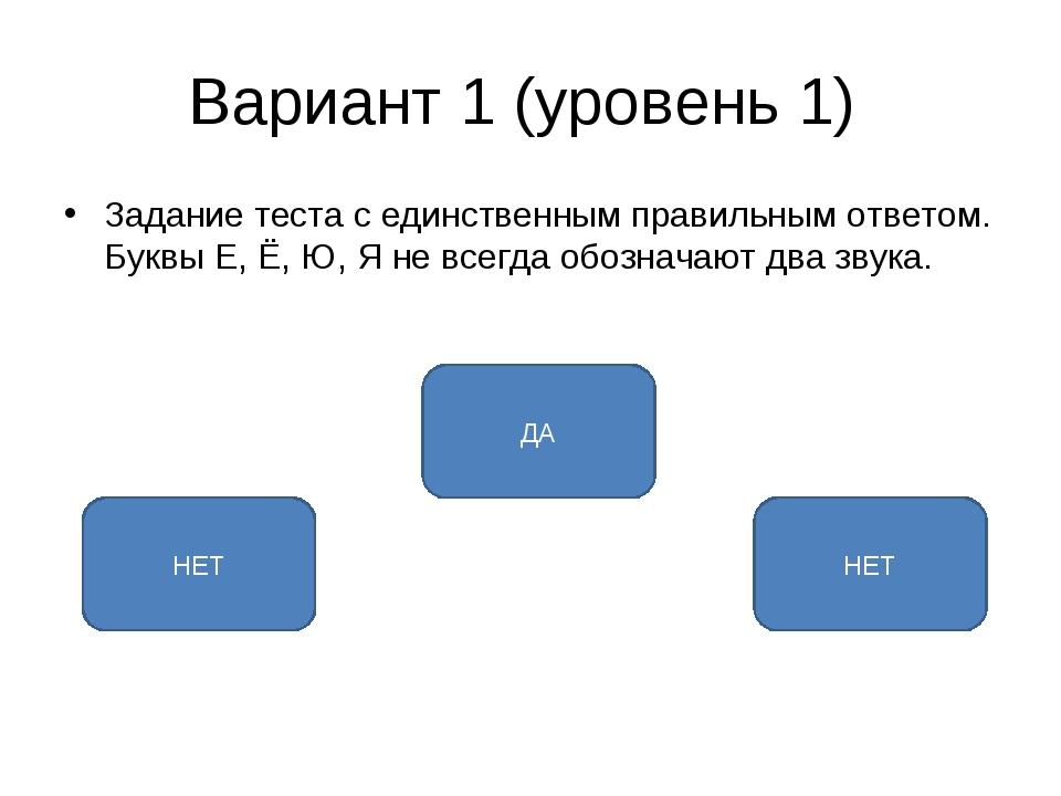 Вариант 1 (уровень 1) Задание теста с единственным правильным ответом. Буквы...
