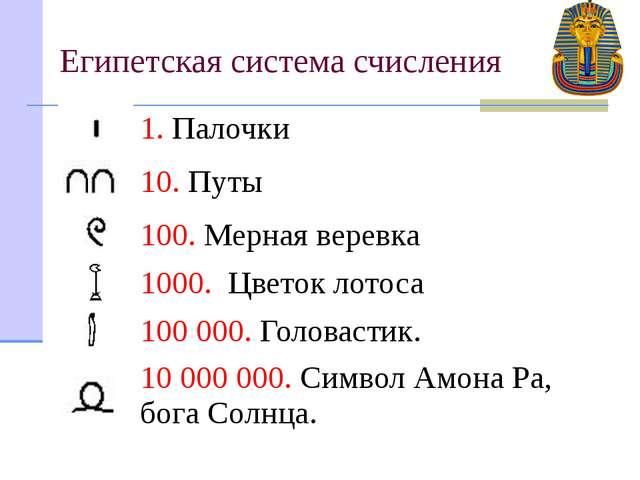 Египетская система счисления 1.Палочки 10.Путы 100.Мерная веревка 1000.Цвето...