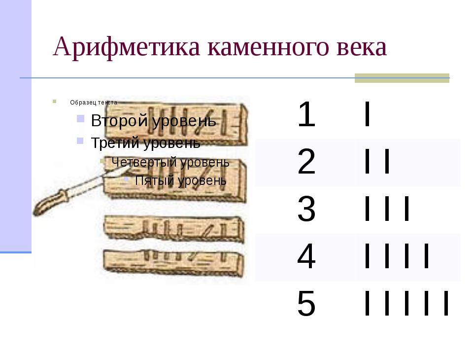 Арифметика каменного века 1 I 2 II 3 III 4 IIII 5 IIIII Потребность в записи...