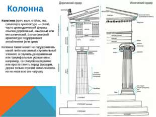 Колонна Коло́нна (греч. κιων, στύλος, лат. columna) в архитектуре — столб, ча
