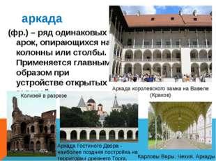 аркада (фр.) – ряд одинаковых арок, опирающихся на колонны или столбы. Примен