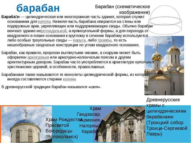 барабан Барабан (схематическое изображение) Древнерусские храмы с цилиндричес...