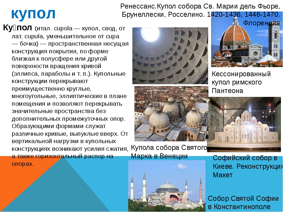 купол Ку́пол (итал. cupola — купол, свод, от лат. cupula, уменьшительное от c...