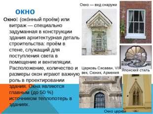 окно Окно́ (окóнный проём) или витраж — специально задуманная в конструкции з