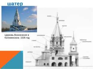 шатер Церковь Вознесения в Коломенском. 1535 год