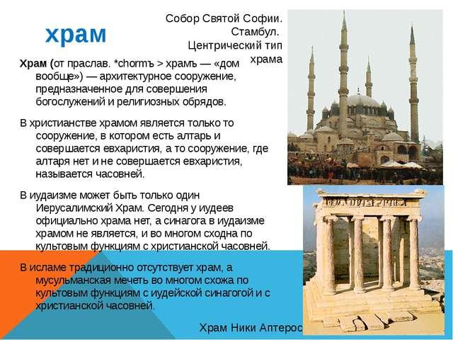 храм Храм (от праслав. *chormъ > храмъ — «дом вообще») — архитектурное сооруж...