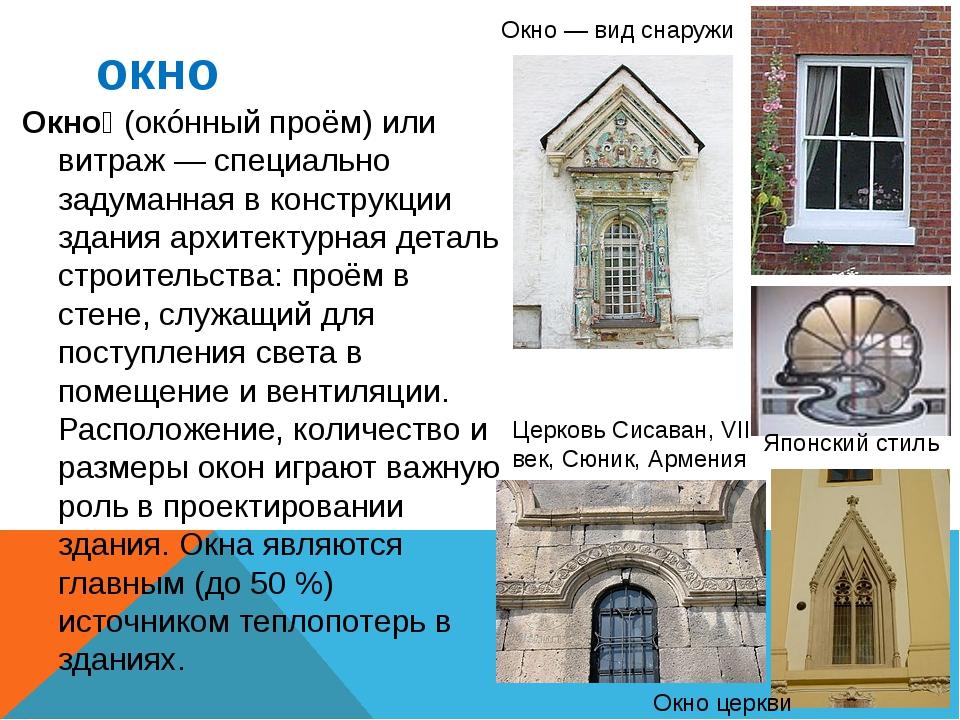 окно Окно́ (окóнный проём) или витраж — специально задуманная в конструкции з...