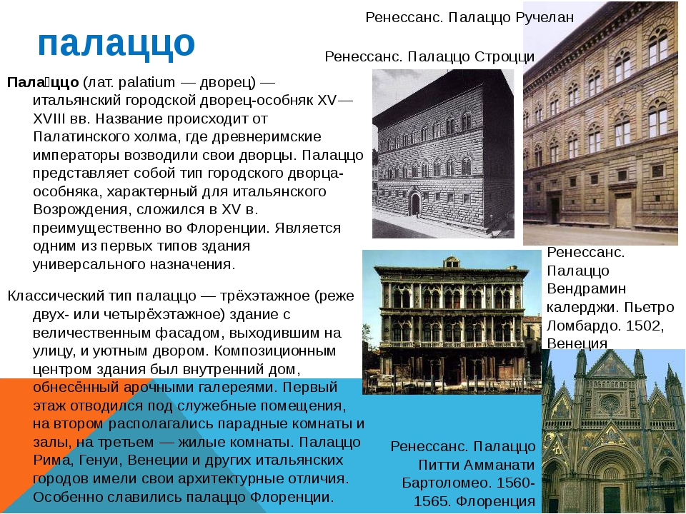 палаццо Пала́ццо (лат. palatium — дворец) — итальянский городской дворец-особ...