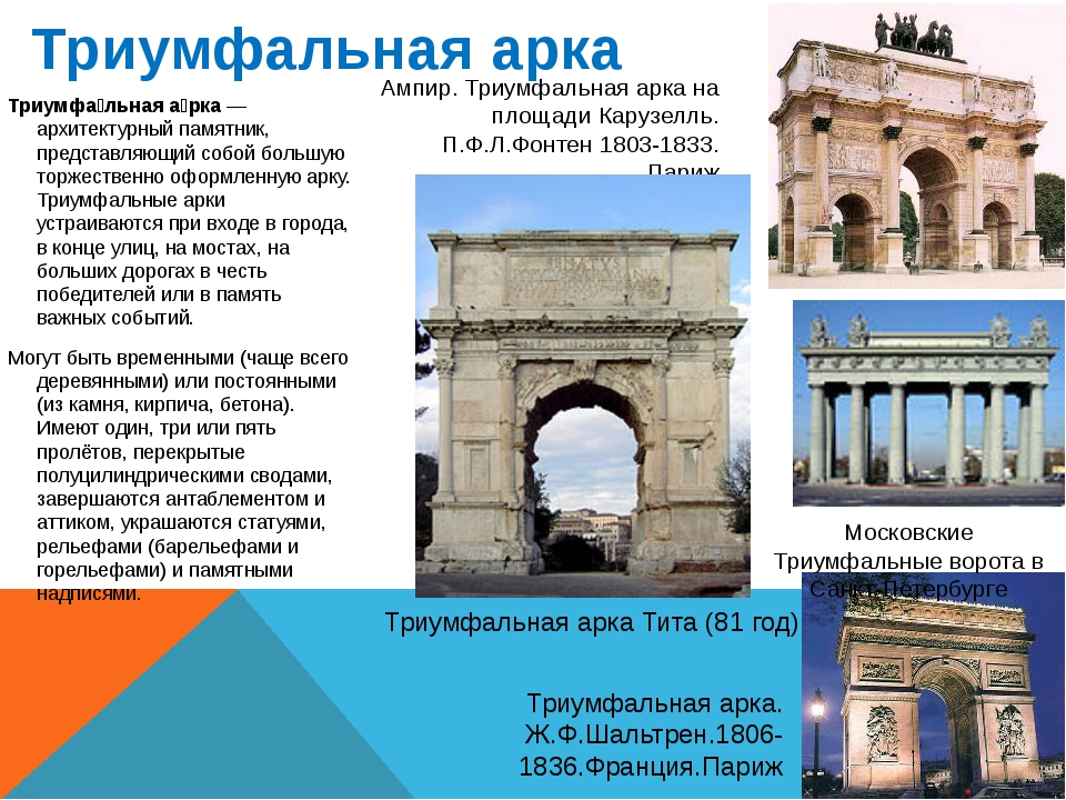 Триумфальная арка Триумфа́льная а́рка— архитектурный памятник, представляющи...