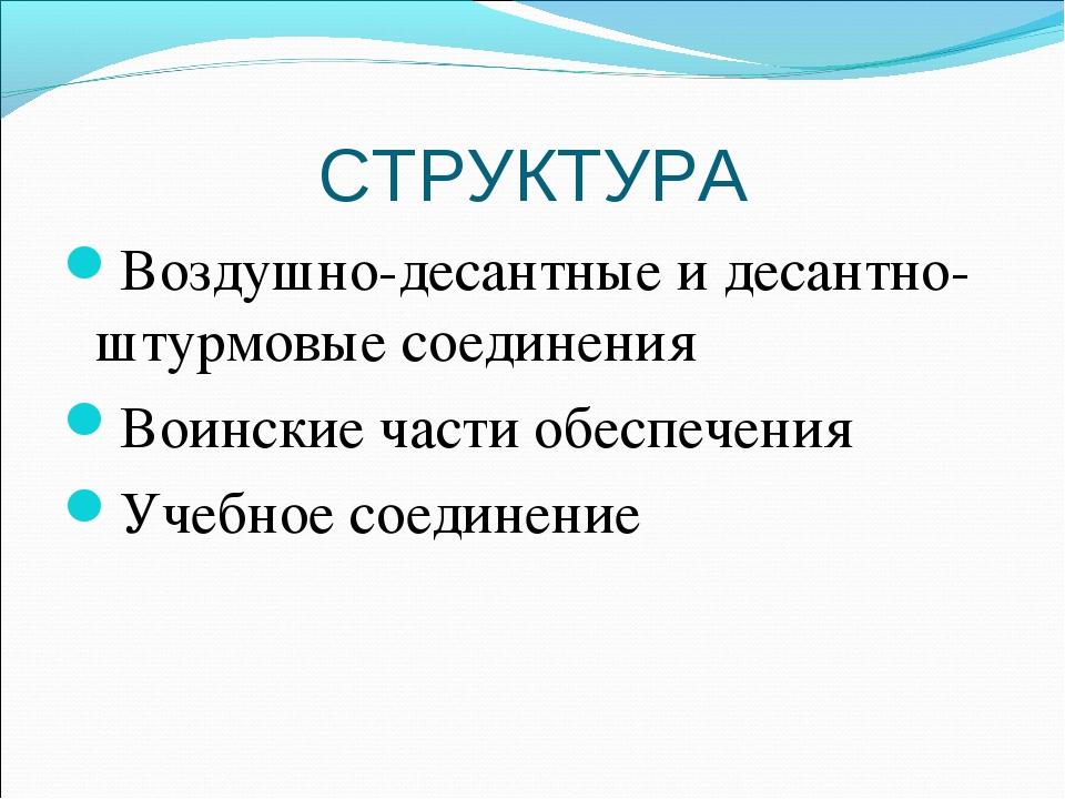 СТРУКТУРА Воздушно-десантные и десантно-штурмовые соединения Воинские части о...