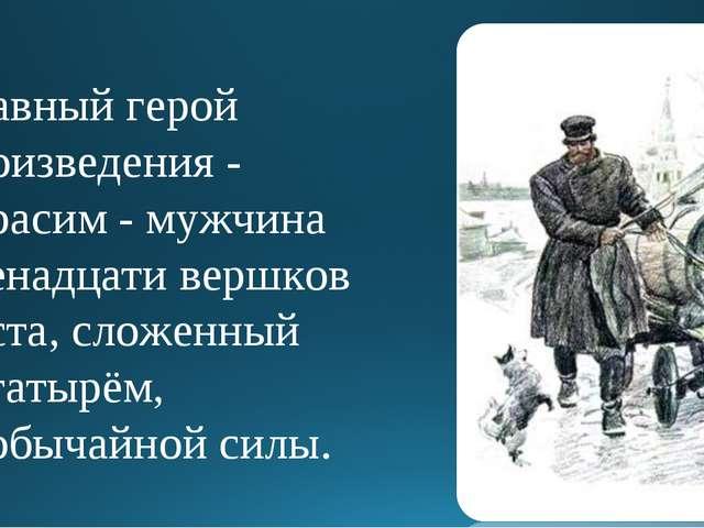 Главный герой произведения - Герасим - мужчина двенадцати вершков роста, слож...