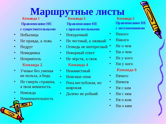 Маршрутные листы Команда 1  Правописание НЕ с существительными Небылица Не...
