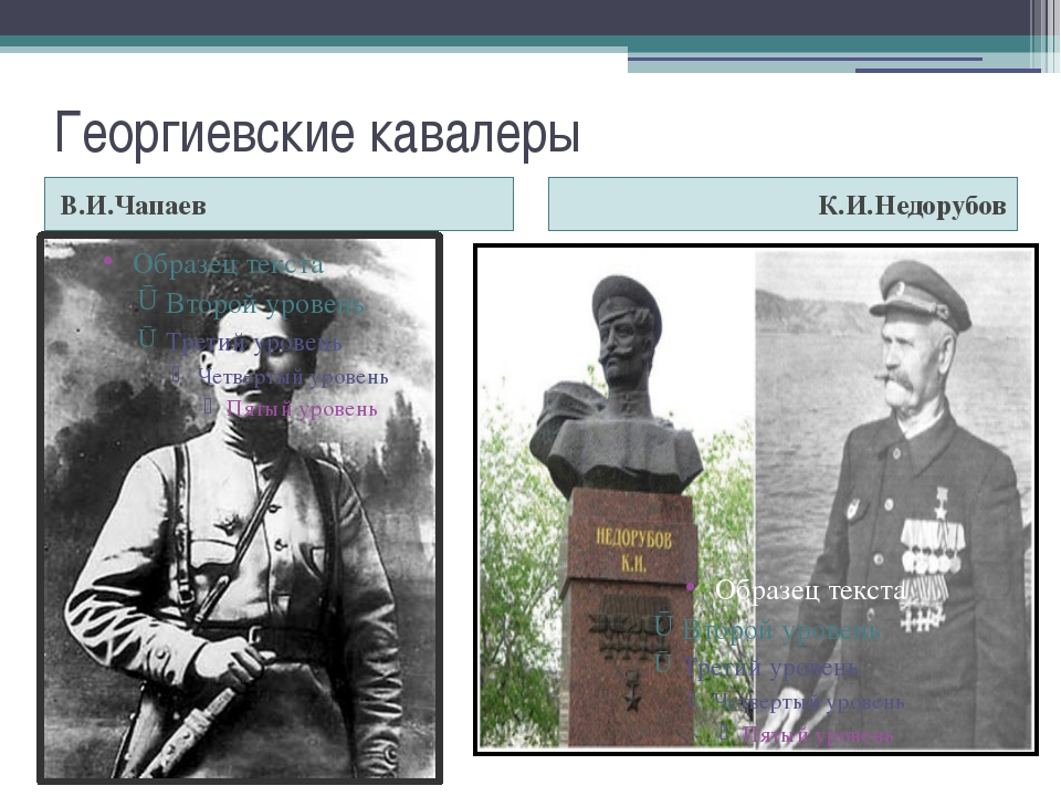 Георгиевские кавалеры В.И.Чапаев К.И.Недорубов